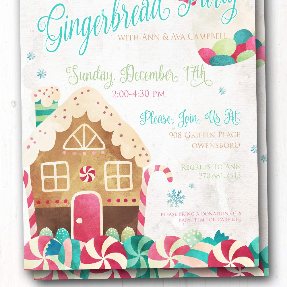 Amazon Com Kids Christmas Party Invite Gingerbread House