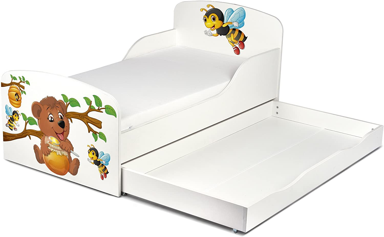 Butterflies UV Print. Leomark Modern White Wooden Children Bed with Drawer and 140//70 cm Mattress