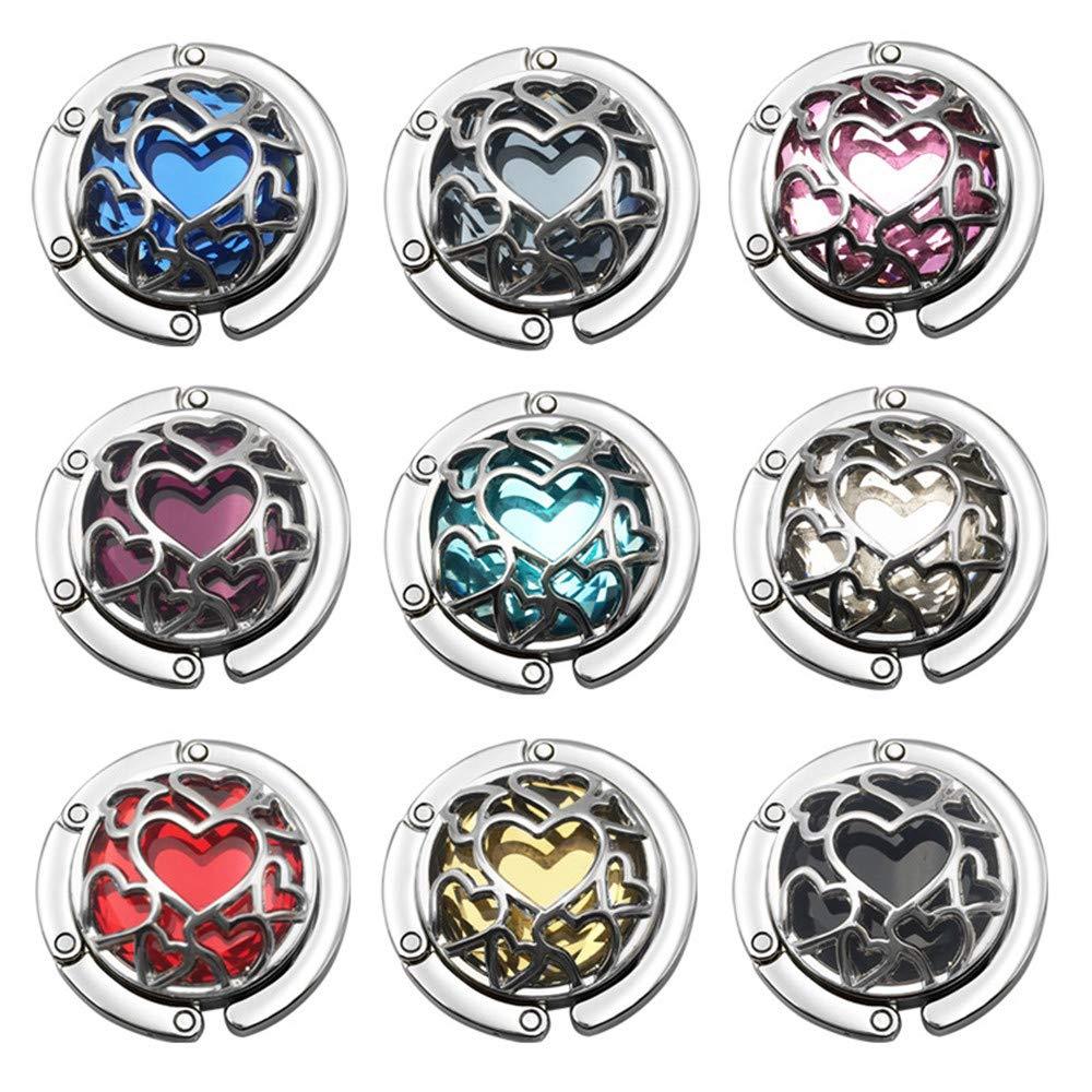 Love Heart Shape Premium Foldable Handbag Bag Purse Hanger Table Hook Holder (9 Pack) by Bestdays