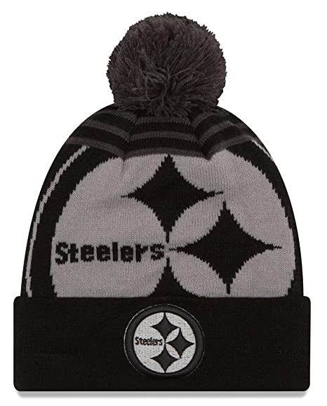 best service 4a655 731ee Image Unavailable. Image not available for. Color  Pittsburgh Steelers New  Era NFL  quot Logo Whiz Black quot  Cuffed Knit Hat with Pom