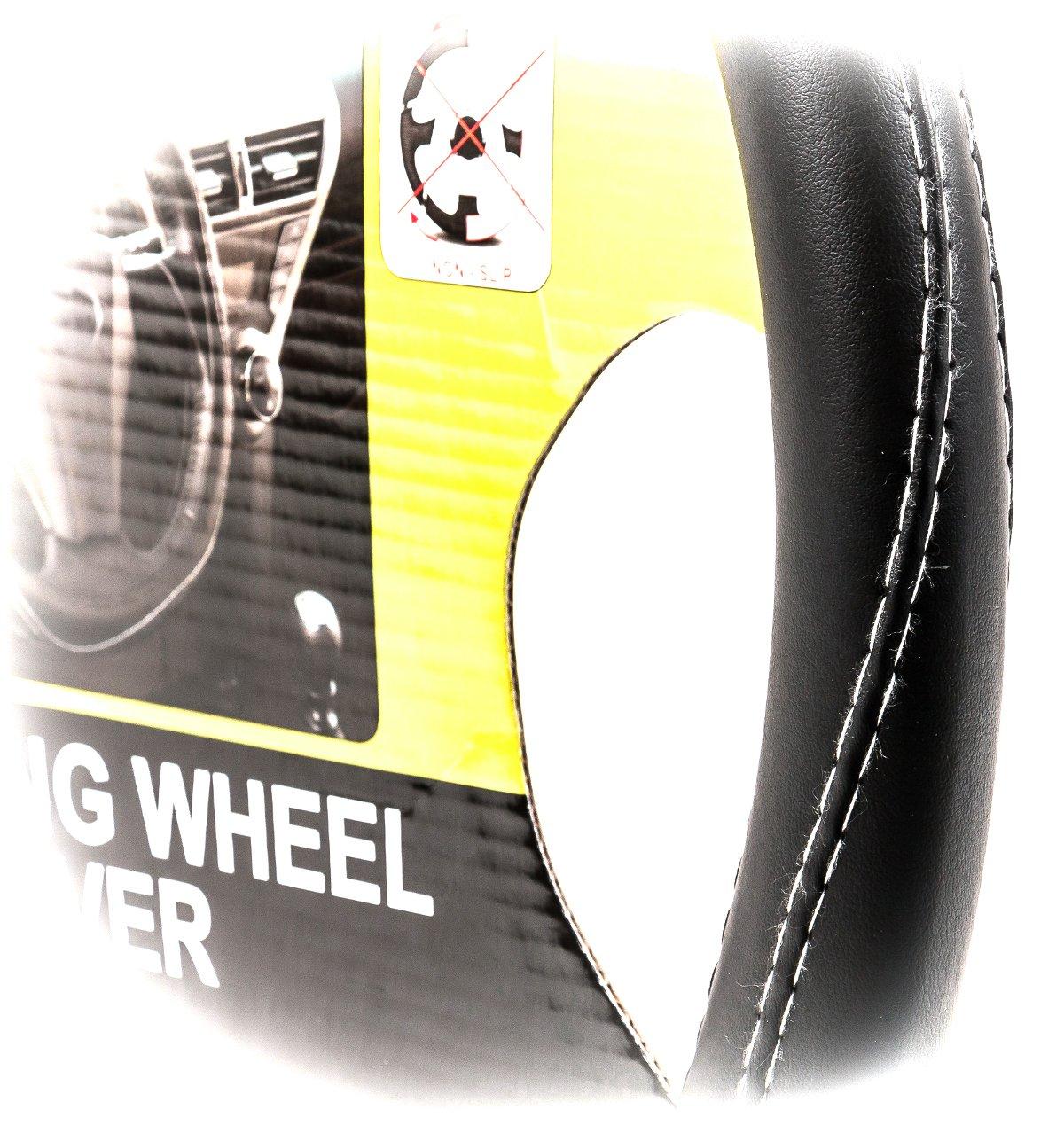 Lifetime Auto Lenkradschoner in Glatt-Leder-Optik mit wei/ßer Ziernaht Gr/ö/ße 38,5 cm