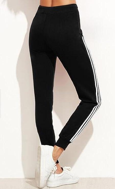 WOZNLOYE Damen Jersey-Jogginghose mit Bindebändern im Sport-Stil Sporthose  Basic Slim Jogger  Amazon.de  Bekleidung 8fa1ed6701