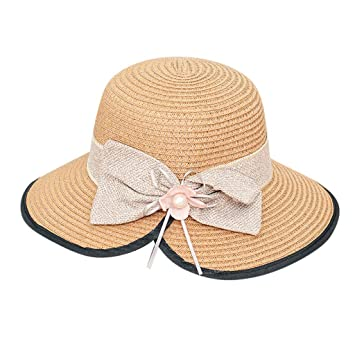 New Ladies Foldable Bow Sunshade Hat Summer Outdoor Beach Wide-brimmed Hat
