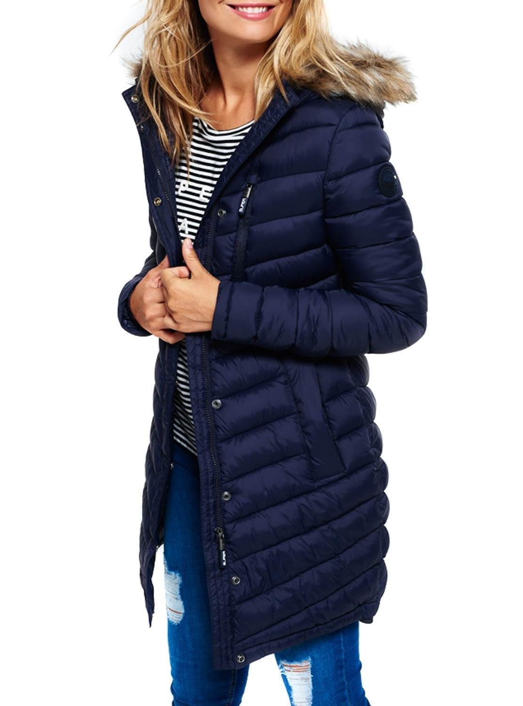 Superdry Womens Chevron Fur Super Fuji Jacket Ink S