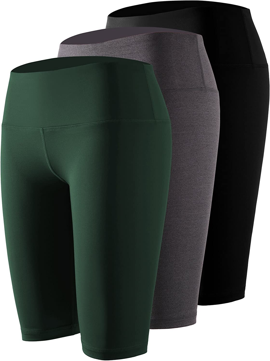 Cadmus Women's Tummy Control Workout Athletic Yoga Shorts with Pocket,3 Pack,Black,Grey,Dark Green,Small
