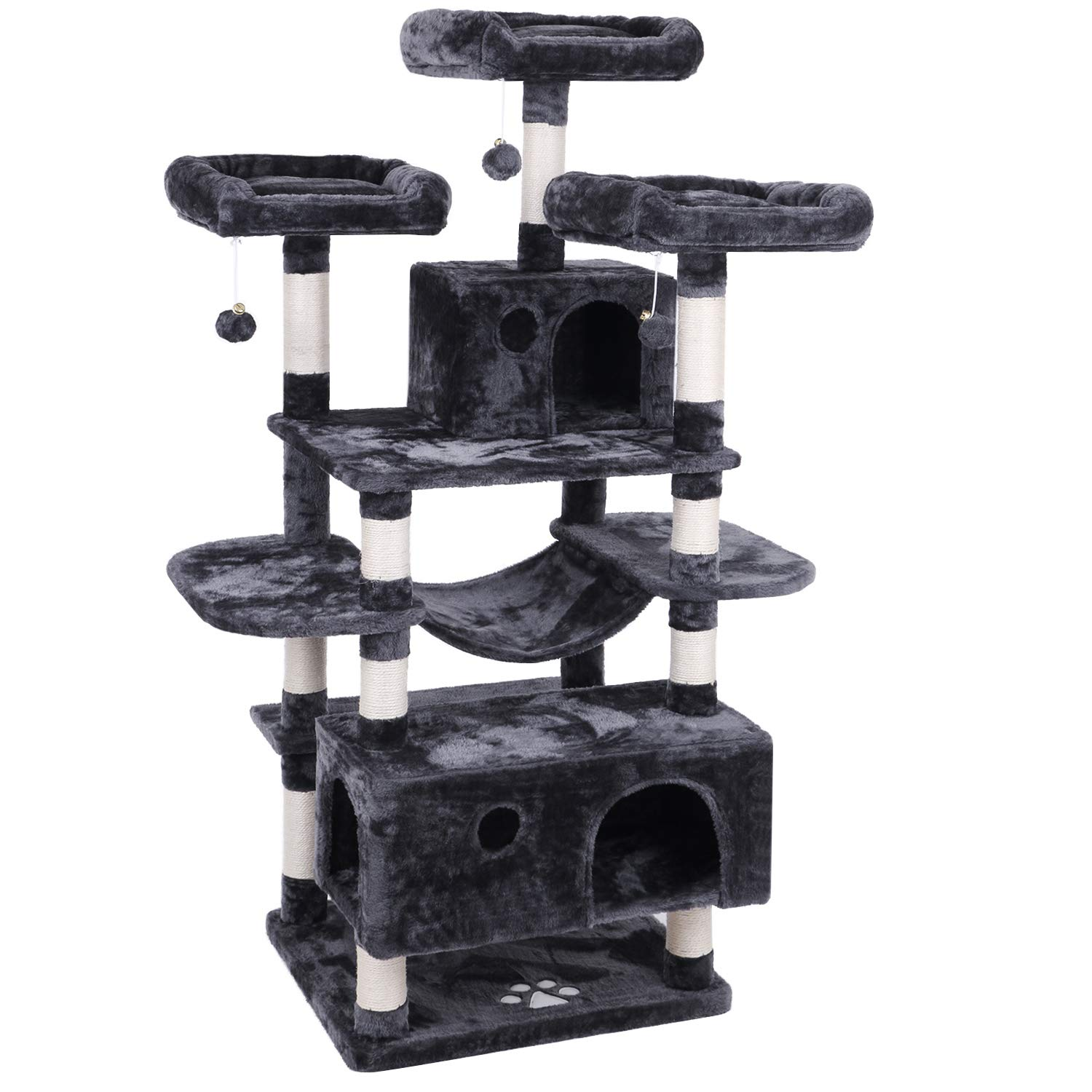 BEWISHOME Large Cat Tree Condo with Sisal Scratching Posts Perches Houses Hammock, Cat Tower Furniture Kitty Activity Center Kitten Play House Grey MMJ03B by BEWISHOME
