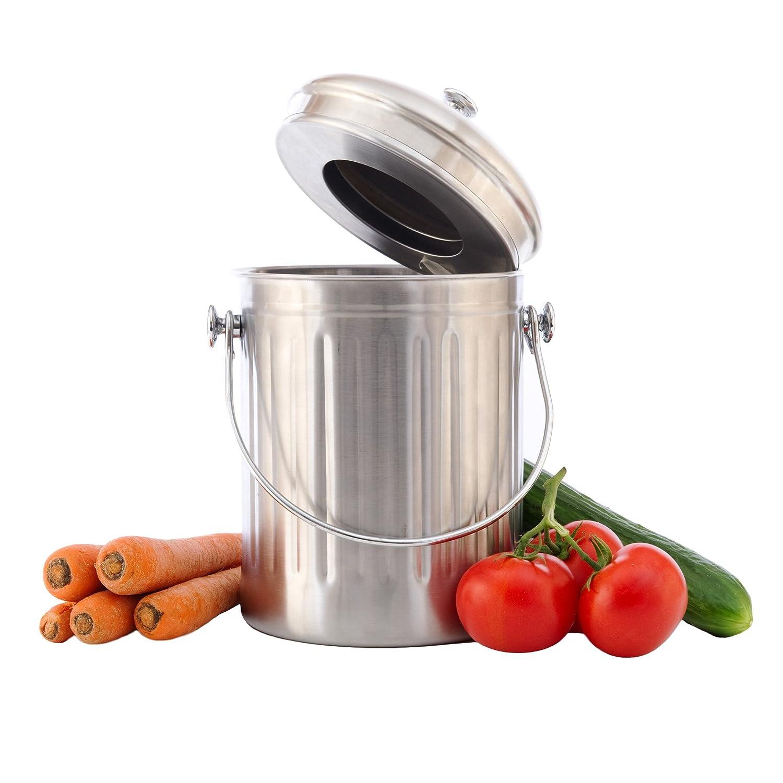 Amazon.com : Chefu0027s Star Stainless Steel Compost Bin 1 Gallon : Garden U0026  Outdoor