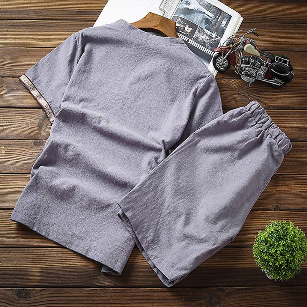 TANGSen Mens Baggy Cotton Ladies Suit Linen Leisure SOID Color Short Sleeve Retro Suit Casual Plus Size Trousers
