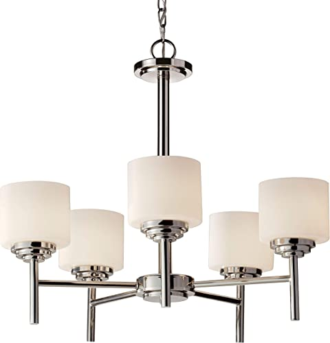 Feiss F2766 5PN Malibu Glass Chandelier Lighting, Chrome, 5-Light 25 Dia x 22 H 500watts