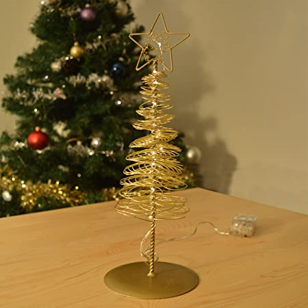 gold led christmas tree ornament metal window sill decoration with 20 warm white lights
