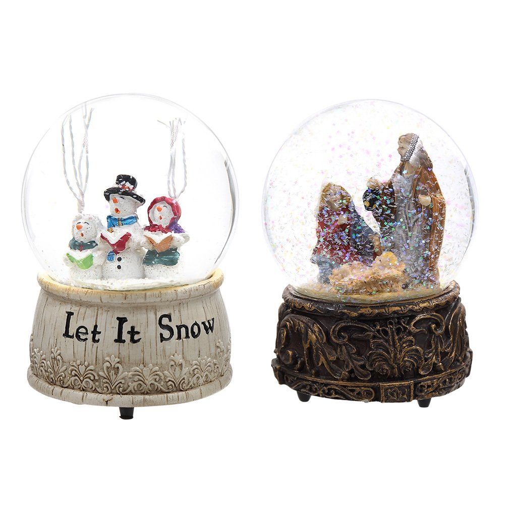 A Ting Musical Polystone Water Glass Snow Globe (2, Let it Snow&Nativity)