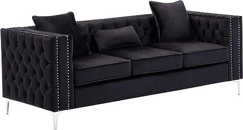 Lilola Home LILOLA Lorreto Velvet Sofa Black
