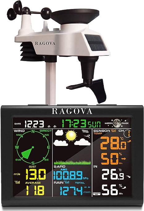 humidit/é pluviom/ètre pression atmosph/érique p station m/ét/éo radio 8 en 1 avec pr/évisions m/ét/éorologiques temp/érature Ragova Station m/ét/éo radio avec capteur ext/érieur