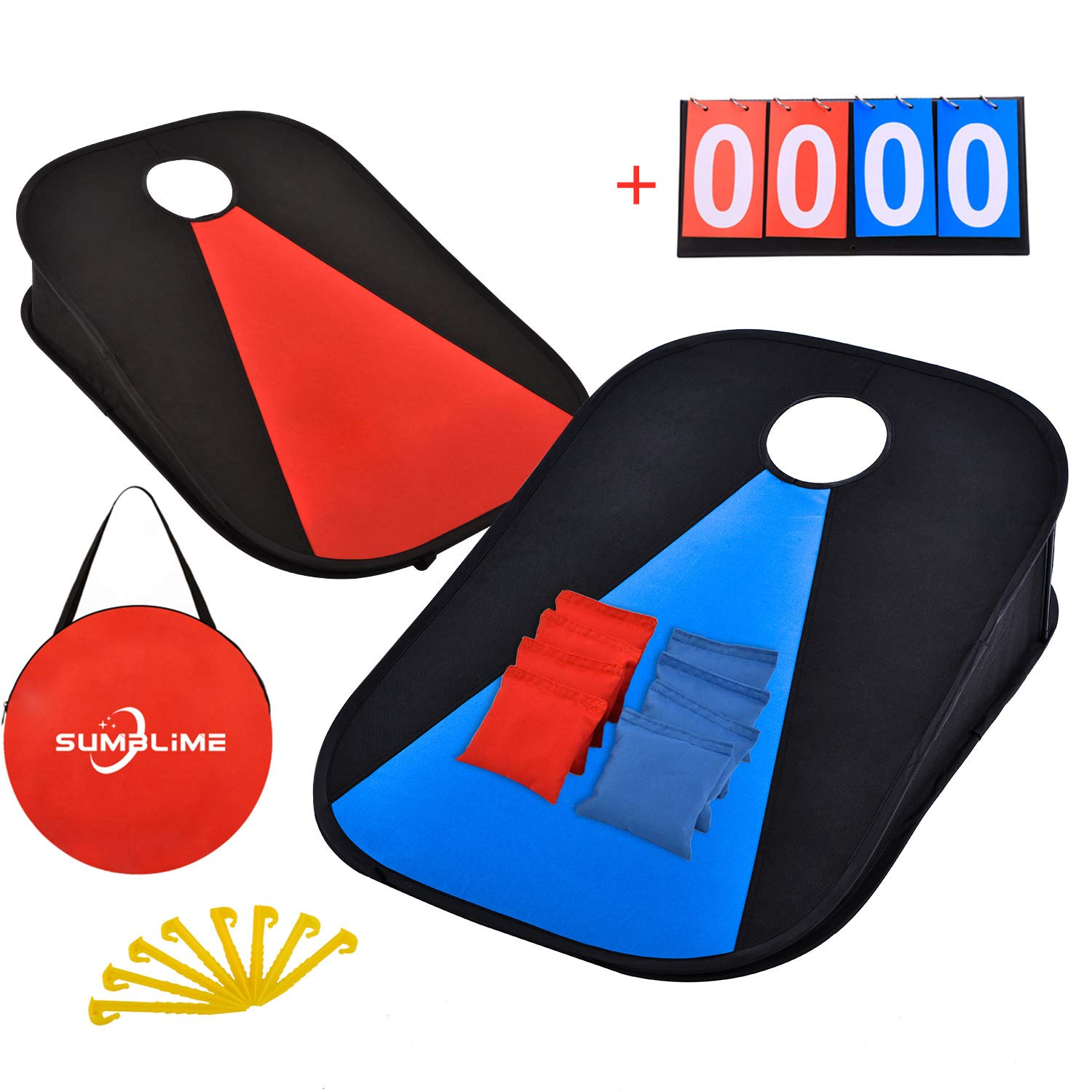 Corn Hole Outdoor Game, 2PCS Portable Foldable Cornhole Boards & 8PCS All Weather Bean Bag Toss & Scoreboard, Outside / Indoor Game for Adults, Kids, Family, for Camping, Travel, Beach, Lawn, Backyard by SUMBLIME