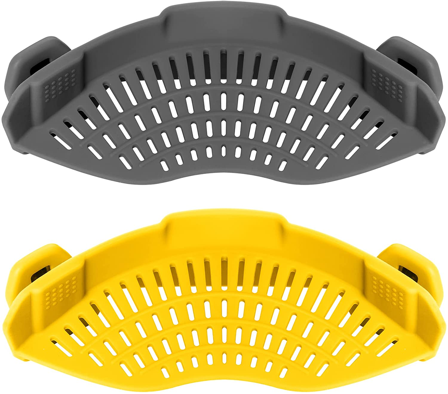AUOON Clip on Strainer,2PACK Fits All Pots Pans, Silicone Colander, Food Strainer for Pasta, Spaghetti, Ground Beef Grease, Heat Resistant Silicone, Easy to Use and Store, Dishwasher Safe(GrayYellow)