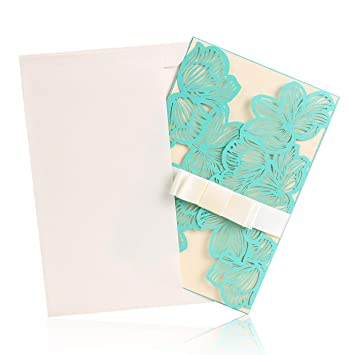 BingGoGo 12x Pearl Paper Laser Cut Invitations For Baby Shower Wedding Mothers Day Brides Bridal
