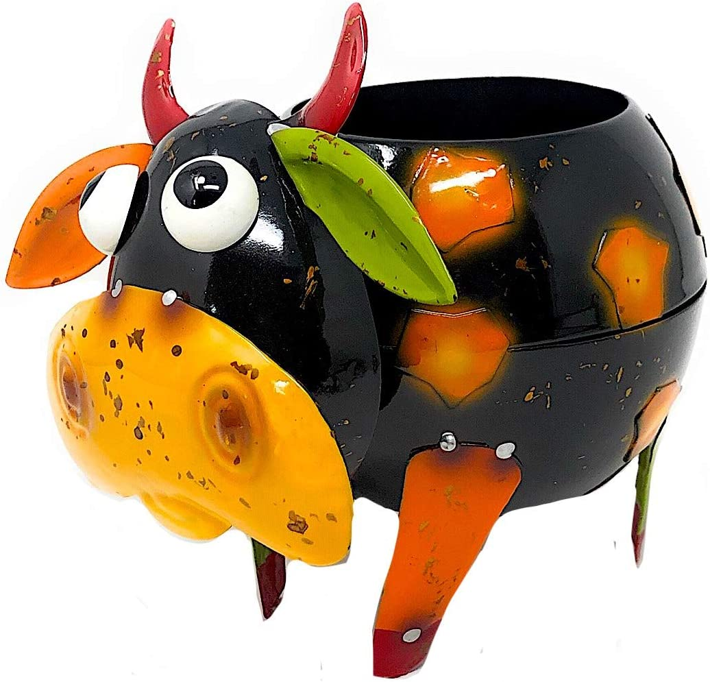 "Mayrich Metal Cow Bull Planter Colorful Succulent Flowers Living Fake Artificial Plants Indoor Outdoor Garden Pot Decor 8""x 6"" (Black & Orange)"