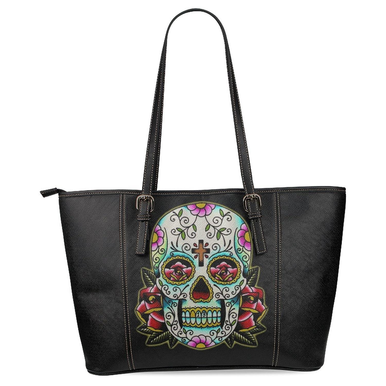 InterestPrint Sugar Skull Women's Leather Tote Shoulder Bags Handbags