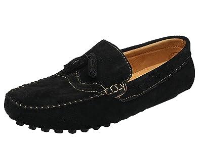 Icegrey Hommes Mocassins Cuir Suedé avec Tessel Loafers Casual Bateau  Chaussures de Ville Flats Noir 38