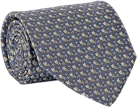 compensar plan de estudios Mucama  Salvatore Ferragamo Men's Cat Print Silk Tie Grey at Amazon Men's Clothing  store