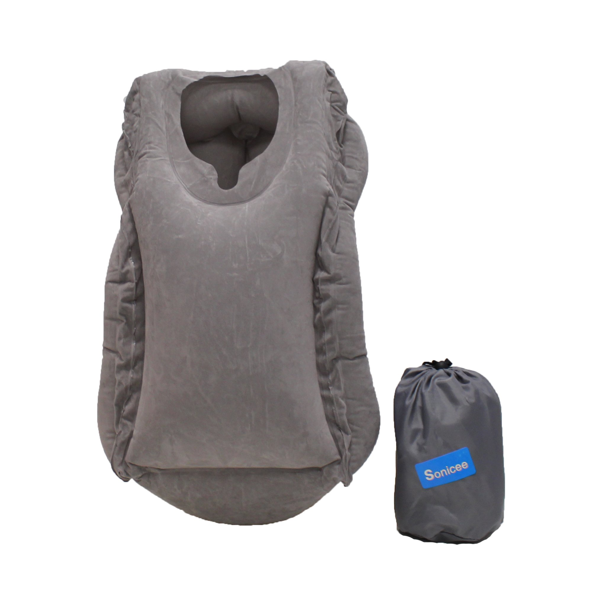 Sonicee Inflatable Air Cushion Multifunctional Travel Pillow Neck Support Nap Pillow for Full Body and Head (Grey)