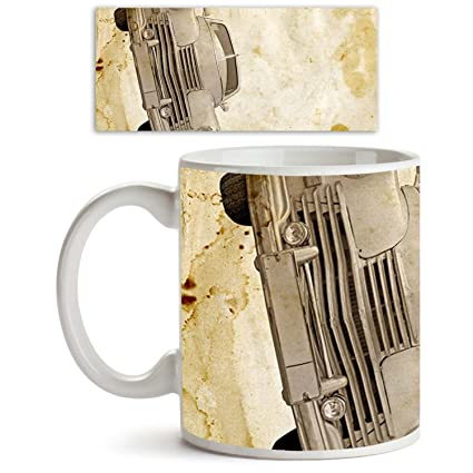 Buy AZ Vintage Car Ceramic Coffee Tea Mug White Colour