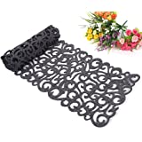 Felt Tablecloth Runner Placemats Table Mats Holiday Hollow Out Table Runner Set Warming Gift Household Dining Decorations (Dark Gray)