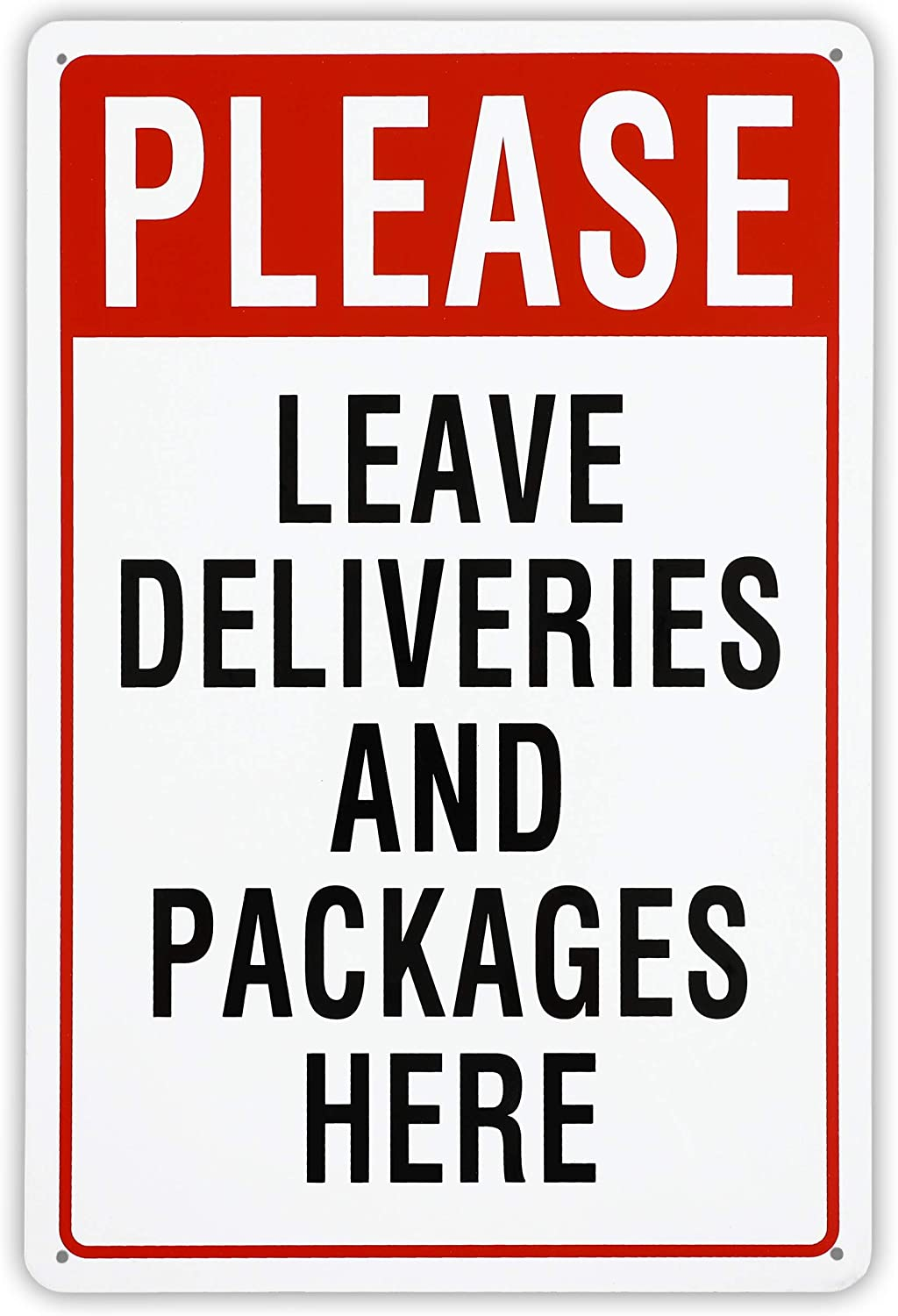 Juvale Please Leave Deliveries and Packages Here Aluminum Sign (8 x 12 Inches)
