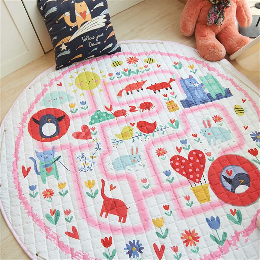 LISIBOOO Cartoon Kids Play Rugs,Toys Storage Organizer Cotton Large Floor Mat,for Baby Girl Boy Bedroom Living Room Nursery Children Crawling Blanket,5 Feet Round Carpet (Pink Maze)