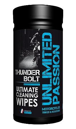 Toallitas de limpieza para coches y motos Thunderbolt de Unlimited Passion con desengrasante para 30 usos