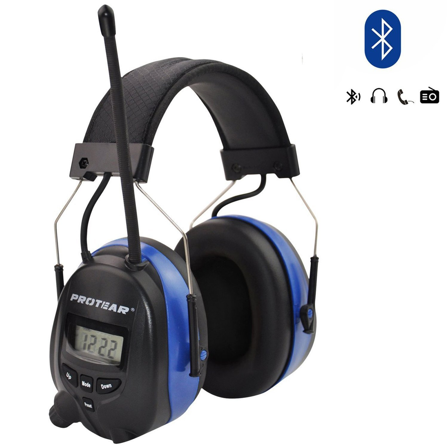 Bluetooth Wireless Noise Cancelling Headphones, AM/FM Radio Safety Earmuffs for Working/Mowing, NRR 25dB Ear Protector, with Built-in Mic, Blue
