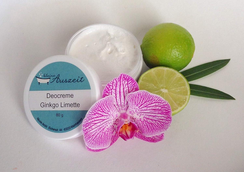 Deocreme Ginkgo Limette, ohne Aluminium und Konservierungsstoffe, vegan, ohne Palmöl, wirksames Deo von kleine Auszeit Manufaktur ohne Palmöl