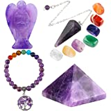mookaitedecor Amethyst Healing Crystals Set, 7 Chakra Bracelet, Palm Stones, Pendulum, Pocket Guardian Angel, Pyramid…