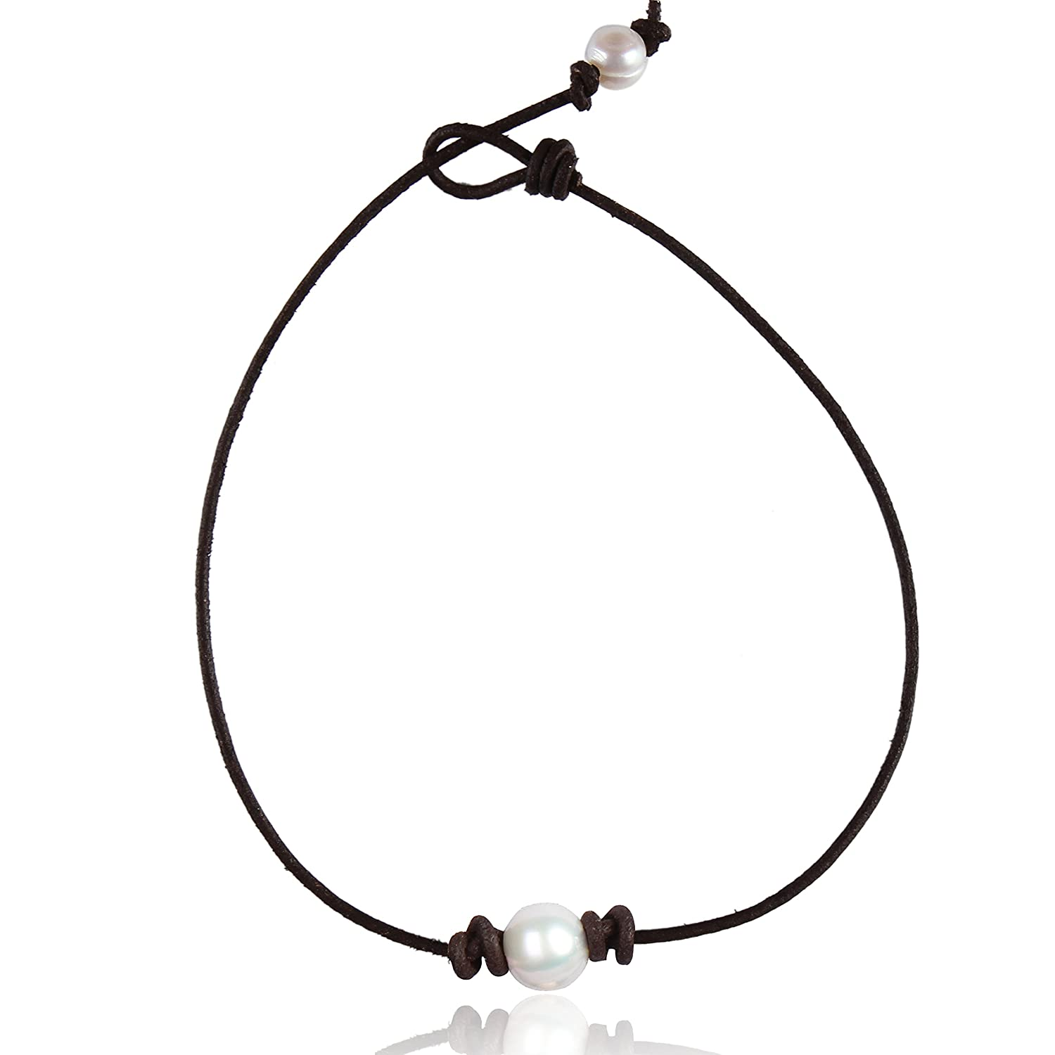 Amazon: Barch Single Pearl Choker Necklace On Genuine Leather Cord For  Women Handmade Choker Jewelry Gift (13