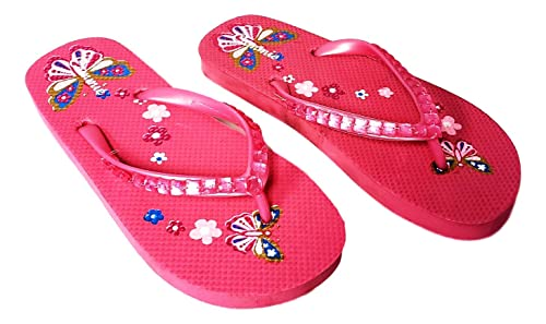 93891bf71 Cammie Girl s Jewel Upper Butterfly and Flowers Retro Flip Flop Sandals (Little  Girls 3