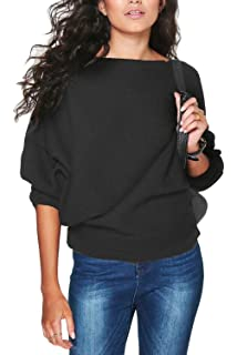 17f4995f92970 ... Camouflage Pullover Sweatshirt Sweater Crop… £8.99 · Vemubapis Women  Casual 3/4 Dolman Sleeve Plain Loose Pullover Autumn Sweater Blouse
