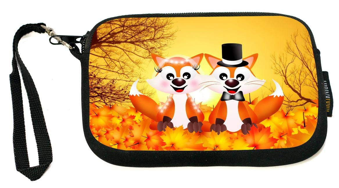 Rikki Knight Red Foxes in Love Wedding Illustration - Neoprene Clutch Wristlet Coin Purse with Safety Closure - Ideal case for Cosmetics Case, Camera Case, Cell Phones, Passport, etc..