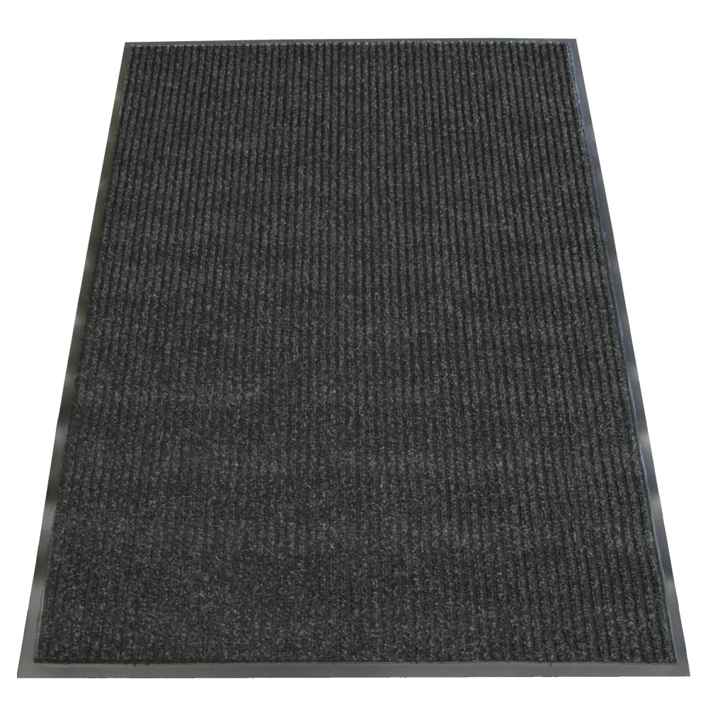 Rubber-Cal ''Ribbed Polypropylene'' Carpet Mat - 4ft x 6ft - ''Cha Cha Charcoal'' Carpet Matting