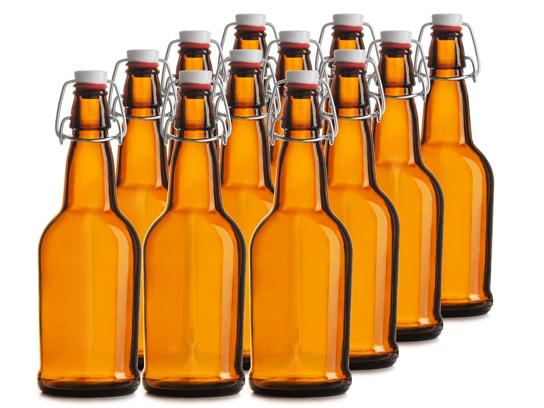 Chef's Star CASE OF 12-16 oz. EASY CAP Beer Bottles - AMBER