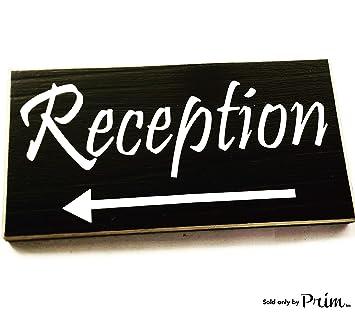 Amazon.com: Placa de madera para puerta de recepción, 4.7 x ...