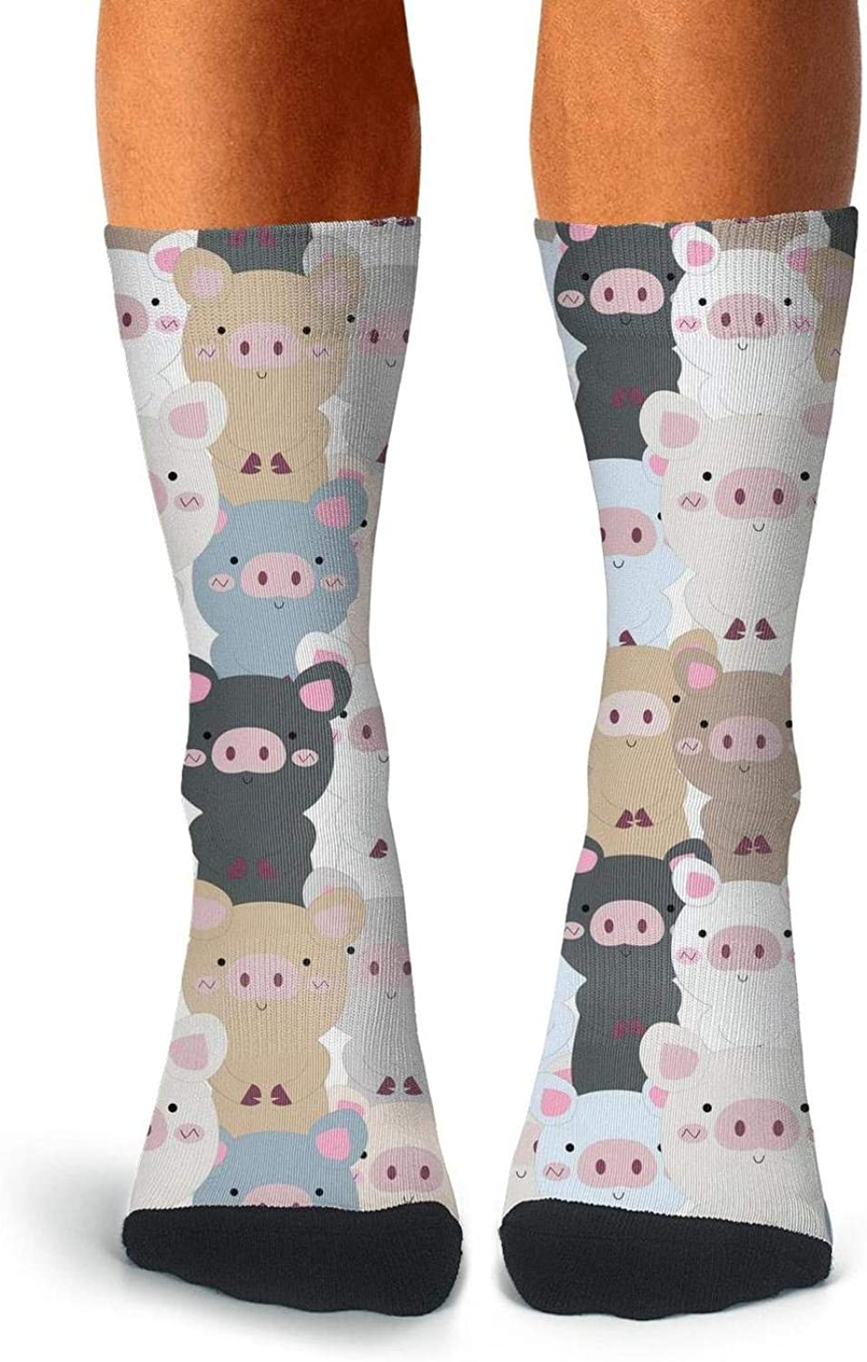 Adult Cute Pink Pig Nose with Happy New Year Socks Warm Crew Thigh High Socks