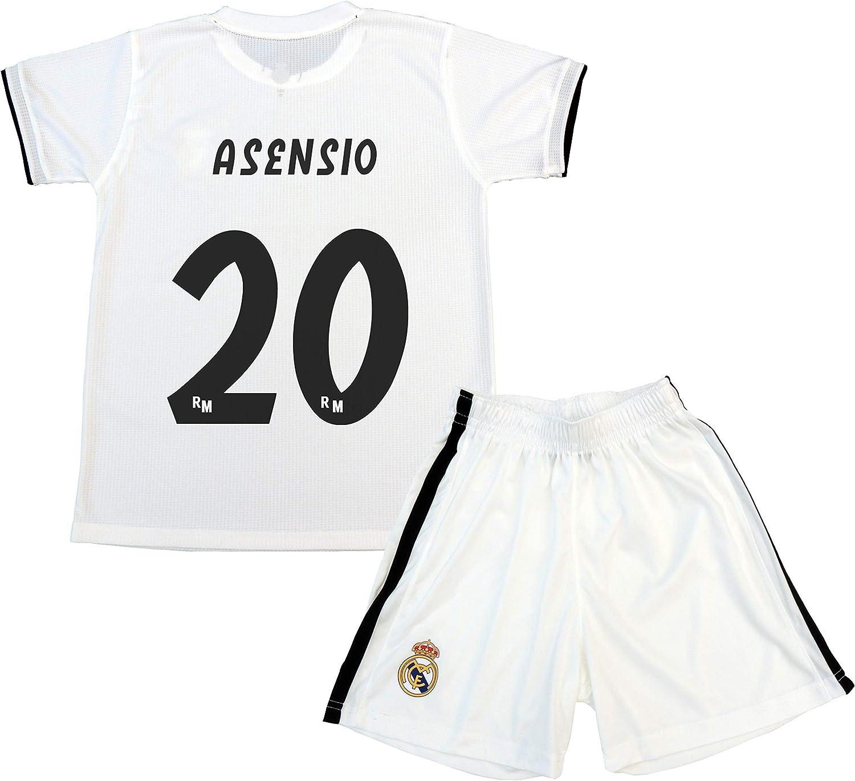 Real Madrid Kit Camiseta y Pantalón Primera Equipación Infantil Marcos Asensio Producto Oficial Licenciado Temporada 2018-2019 (Blanco, Talla 12): Amazon.es: Deportes y aire libre