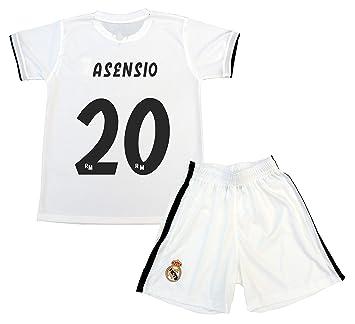 Real Madrid Kit Camiseta y Pantalón Primera Equipación Infantil Marcos  Asensio Producto Oficial Licenciado Temporada 2018 72ea5574602