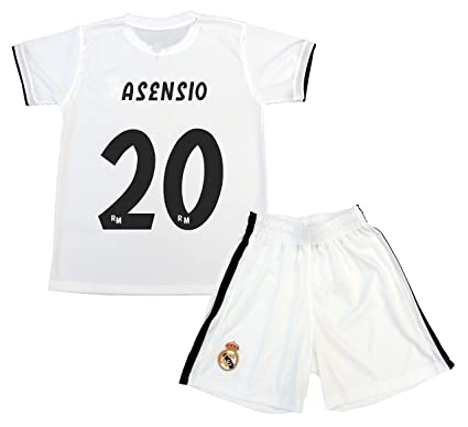 Real Madrid Kit Camiseta y Pantalón Primera Equipación Infantil Marcos Asensio Producto Oficial Licenciado Temporada 2018-2019
