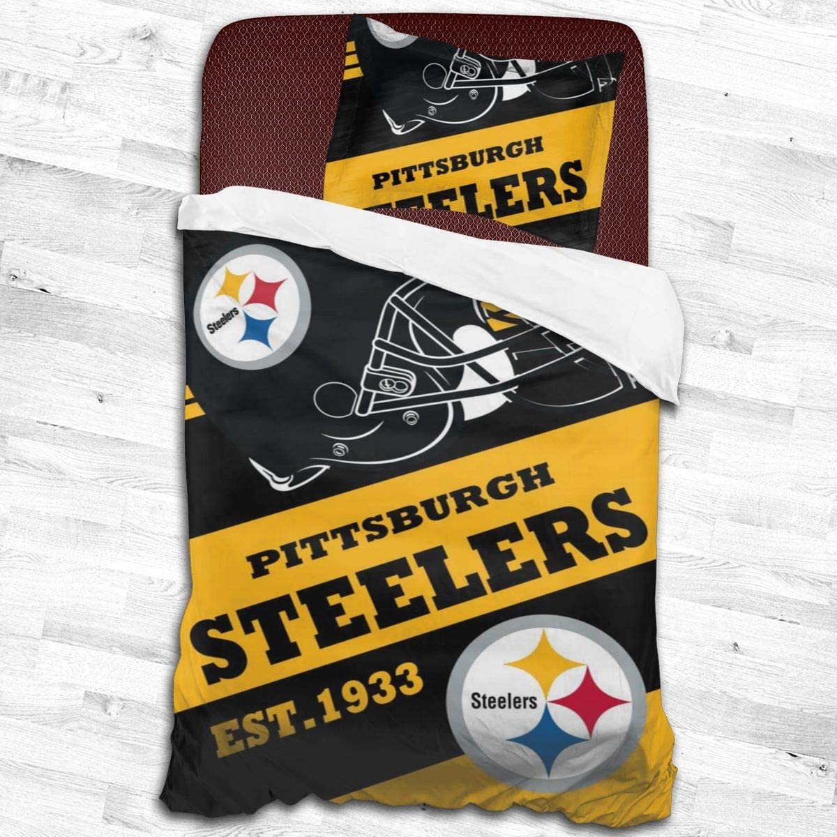 """MamaTina Fashion Pittsburgh Steelers Kids Bedding Set, Decorative 2 Piece Bedding Set with 1 Pillow Sham,Twin Size, Gifts to Boys,Girls,Teen,Child 53""""x79"""""""
