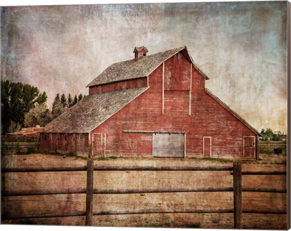 York Road Barn by Ramona Murdock Canvas Art Wall Picture, Museum Wrapped with Nutmeg Sides, 20 x 16 inches