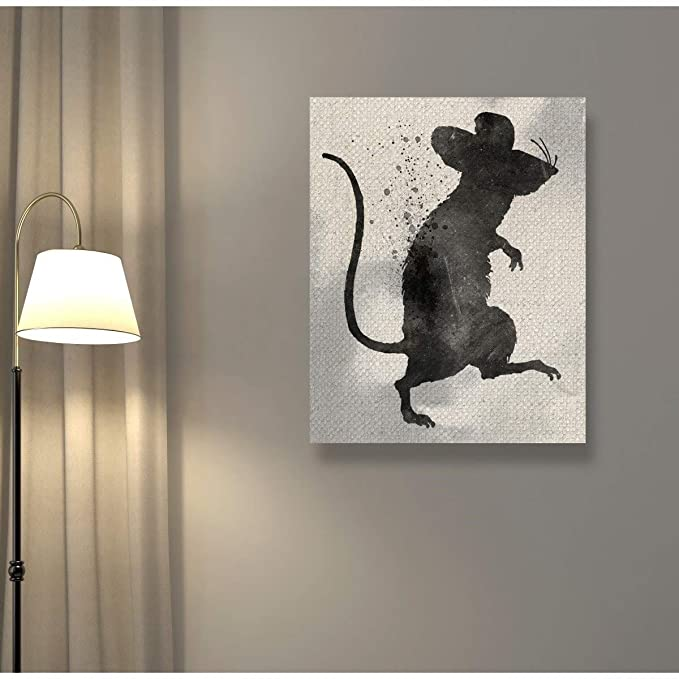 Amazon.com: Oliver Gal Rat Silhouette Canvas Art 17x20 ...
