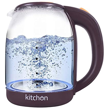 Kitchon KIKGL 1.8L 1500W Cordless Automatic Electric Glass Kettle with Stainless Steel Lid - Transparent