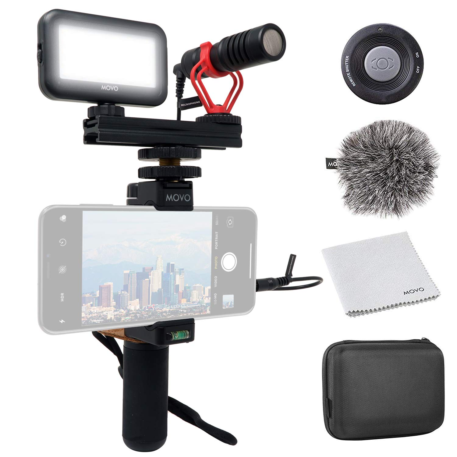 Movo Smartphone Video Kit V1 Vlogging Kit with Grip Rig, Shotgun Microphone, LED Light and Wireless Remote - YouTube Equipment Compatible with iPhone, Android Samsung Galaxy, Note and More by Movo