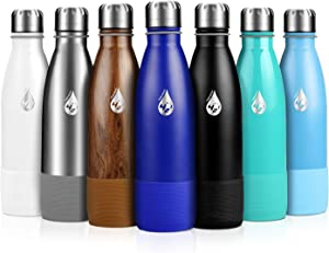 Extremus 421 Hydration Vacuum Insulated Water Bottle, 18/8 Stainless Steel Double Wall Thermos Hot Water Bottle, 17 Oz Capacity, with Leakproof Top, Carry Strap & Bottle Boot